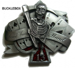 Dead Man's Hand Belt Buckle + display stand. Code AP5